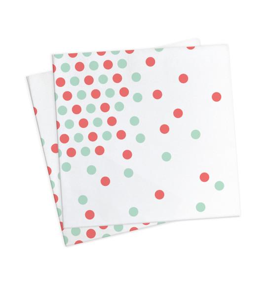"""20 serviettes """"confettis vert d'eau"""" 33x33cm"""