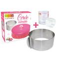 Cercle à pâtisserie extensible + ruban rhodoïd