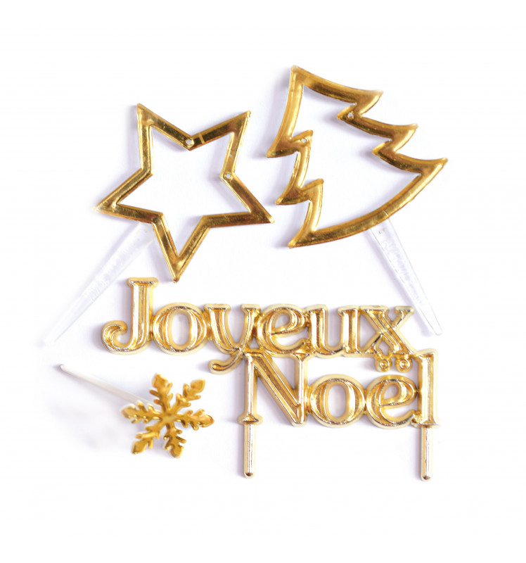 4 Gold Christmas decorations