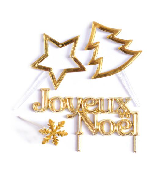 4 Accessoires de Noël dorés