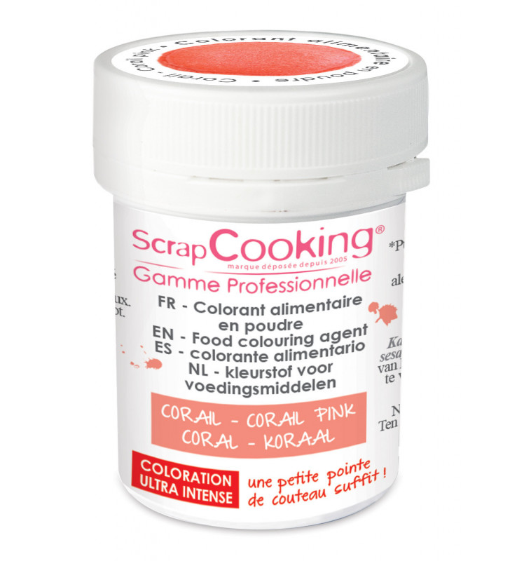 Coral pink powdered artificial food colouring 5g