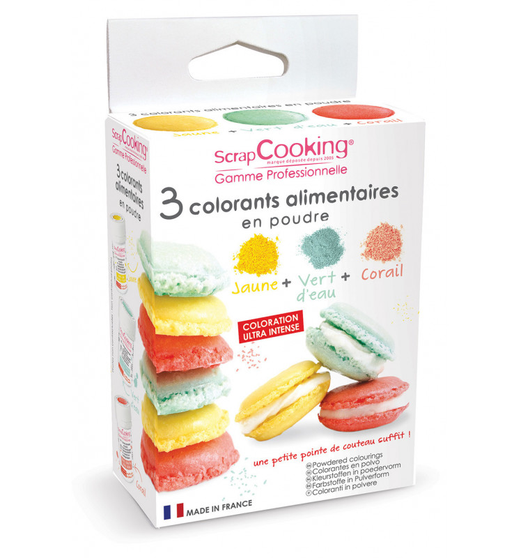 3 artificial food colourings light green, coral pink, yellow