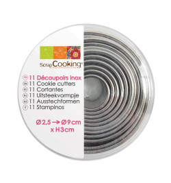Set of 11 round stainless...