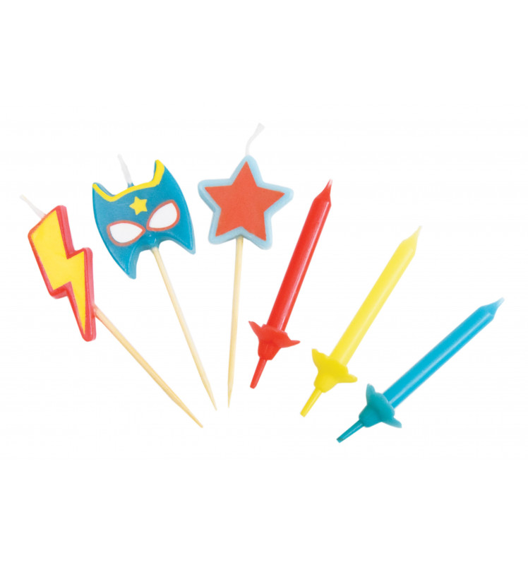 "12 bougies + 3 bougies ""super héros"""