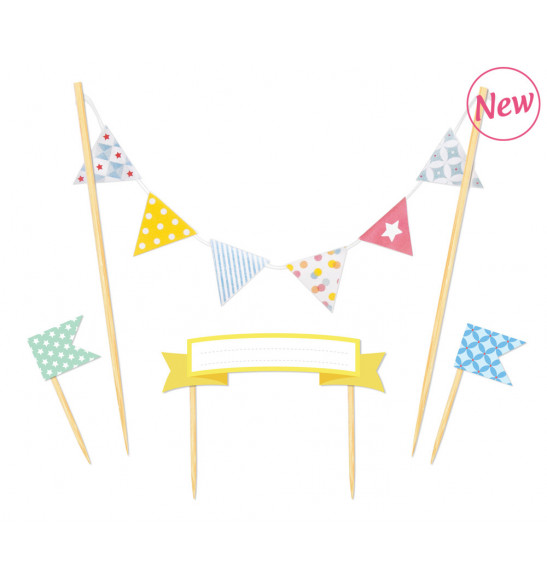 Cake pick decorations - Happy Birthday cake topper flags