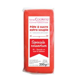 Pâte à sucre de couverture rouge 200 g 7158