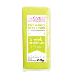 Pâte à sucre de couverture vert citron 200 g 7155