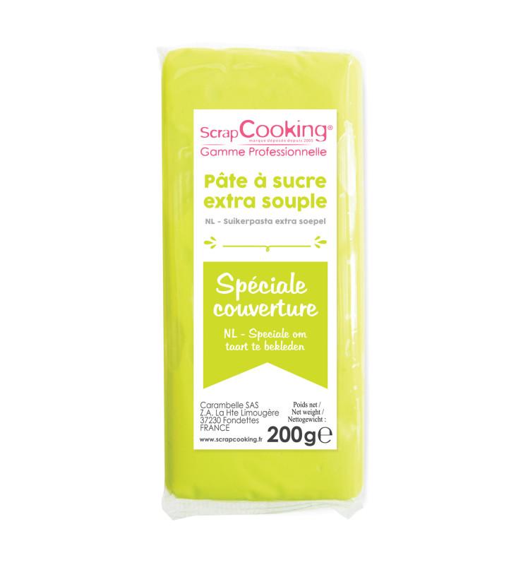 Pâte à sucre de couverture vert citron 200 g