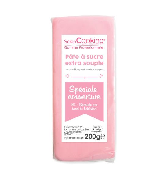 Pâte à sucre de couverture rose 200 g