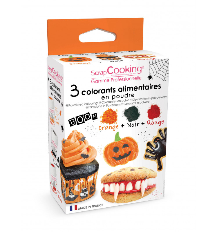 "3 Halloween-themed powdered food colourings ""black, orange, red"""