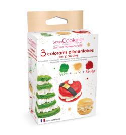3 colorants poudre Noël vert, rouge, doré réf.4018