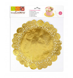 6 Gold doilies