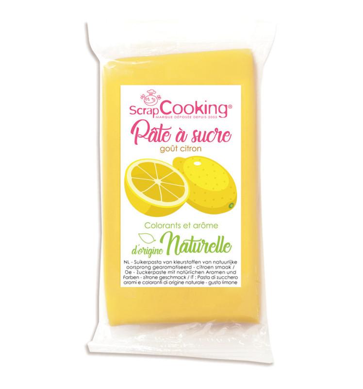 Pâte à sucre jaune goût citron d'origine naturelle 250 g