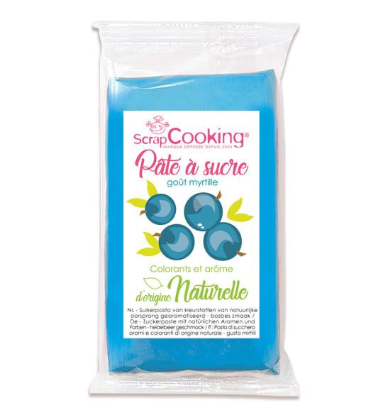 Pâte à sucre bleu goût myrtille d'origine naturelle 250 gr