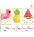 Assorted set of mini candles pink flamingo / watermelon / pineapple