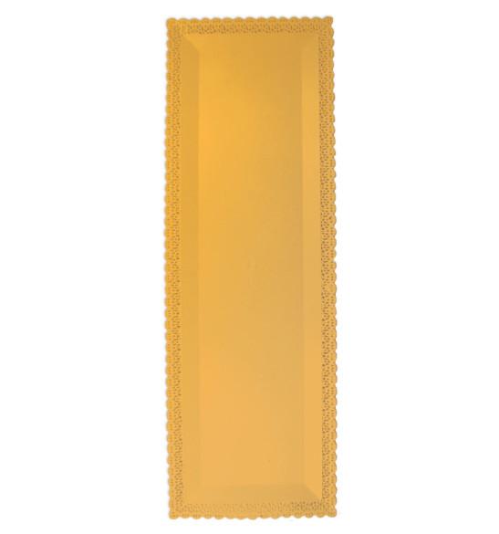 Rectangular cake board with a lacework trim 13 x 40 cm Gold