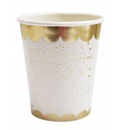 8 Gold motif paper party cups