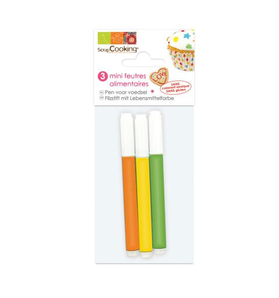 3 Mini-food pens orange/yellow/green