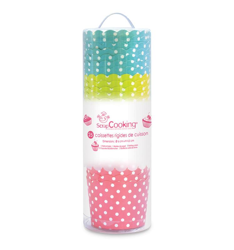 Box of 25 polka dot cupcake cases