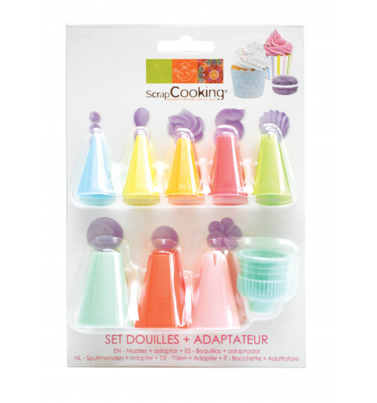 Set of plastic piping tips + coupler
