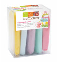 Lot de 5 pâtes à sucre pastel (bleu pastel, rose, parme, vert d'eau, jaune) 80g