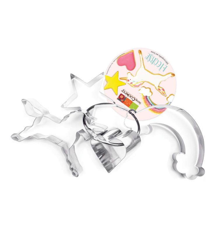 4 Unicorn cookie cutters on a steel loop