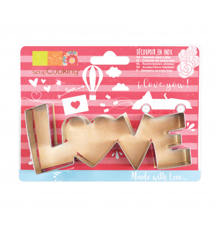"""Stainless steel """"Love"""" cookie cutter"""