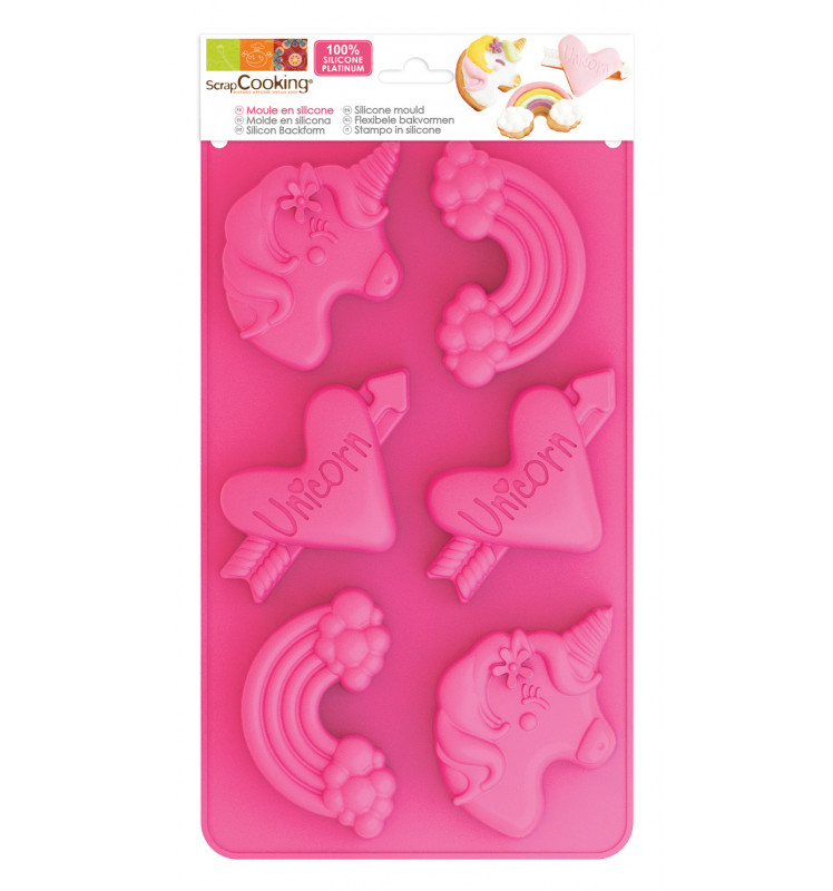 Silicone mould with 6 unicorn-themed cavities
