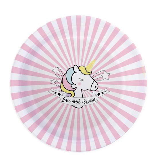 8 Unicorn paper party plates Ø23cm
