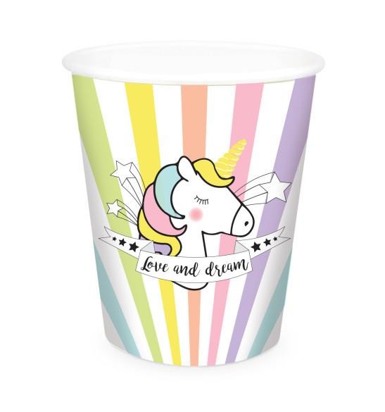 8 Unicorn paper party cups 25 cl