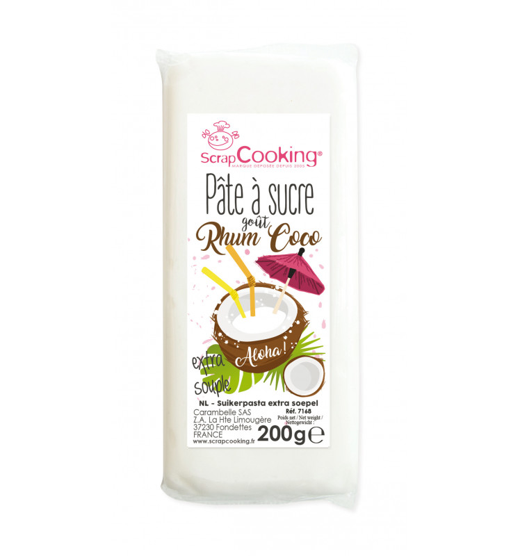 Pâte à sucre aromatisée Rhum coco 200 gr