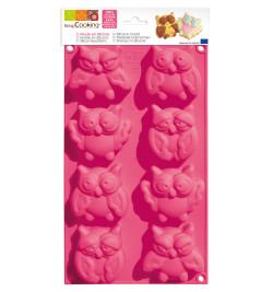 Moule à gâteaux silicone 8 chouettes réf.3154