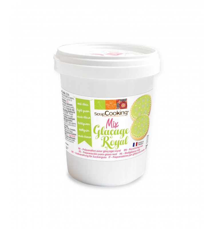 Pot of light green royal icing mix 190g