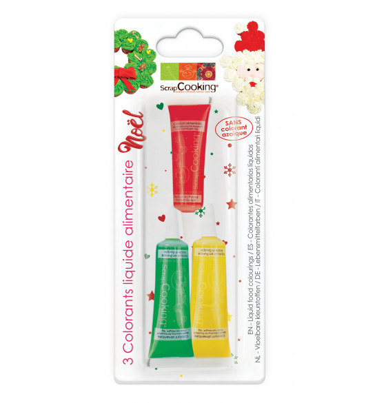 3 colorants liquides liquides Noël (rouge/jaune/vert)