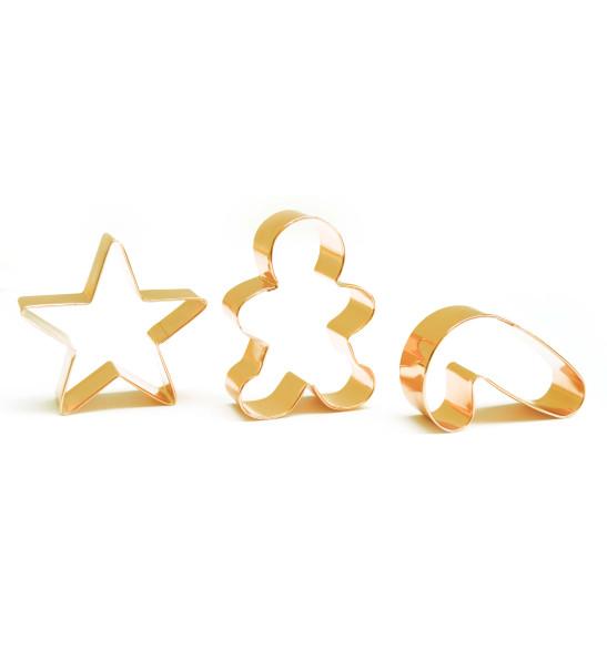 3 Découpoirs inox dorés Gingerman/candy cane/étoile