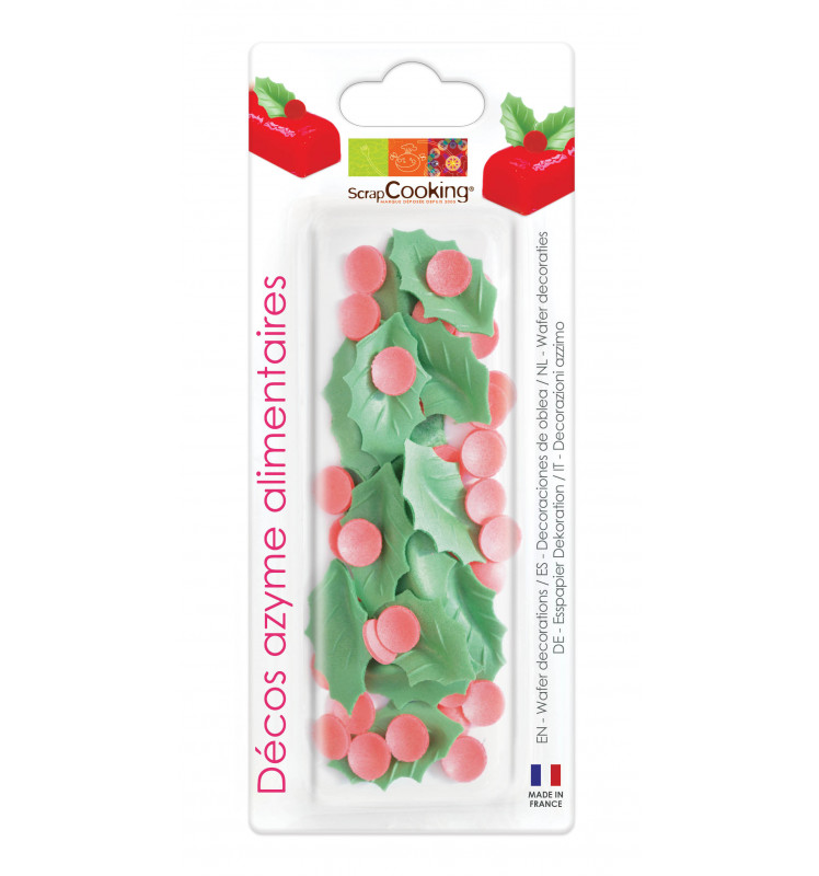 Holly edible wafer decoration blister pack