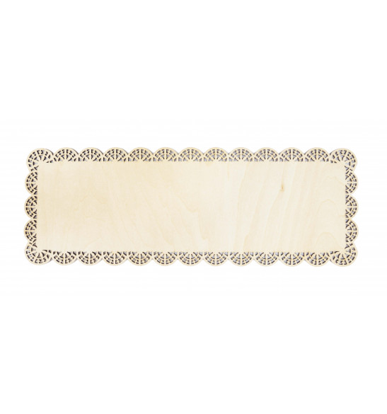 Plat dentelle rectangle bois 36 x 13 cm