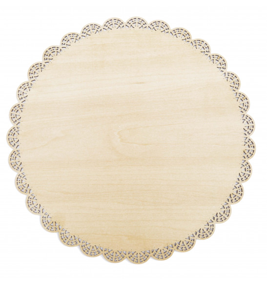 Round wood cake base with lacework trim ø 29cm