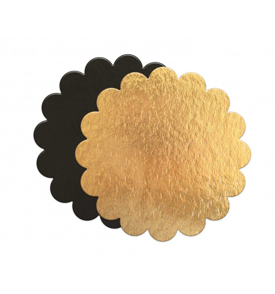 5 thin gold/black cake boards - round with fluted edge diam. 24cm