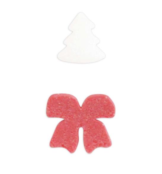 Pot décors sucrés Noël sapin blanc + nœud rouge