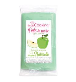 7284 Pâte à sucre vert goût pomme d'origine naturelle 250 gr