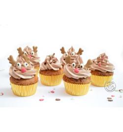 Cupcakes avec décosucres têtes de rennes