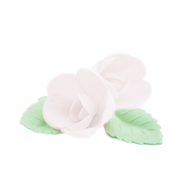 Edible wafer decorations 4 white roses + 6 green leaves