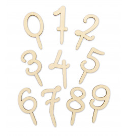 Wood cake topper Numbers 0...