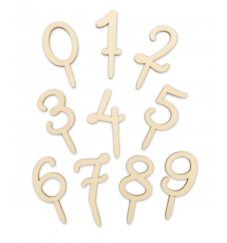 Wood cake topper Numbers 0 to 9