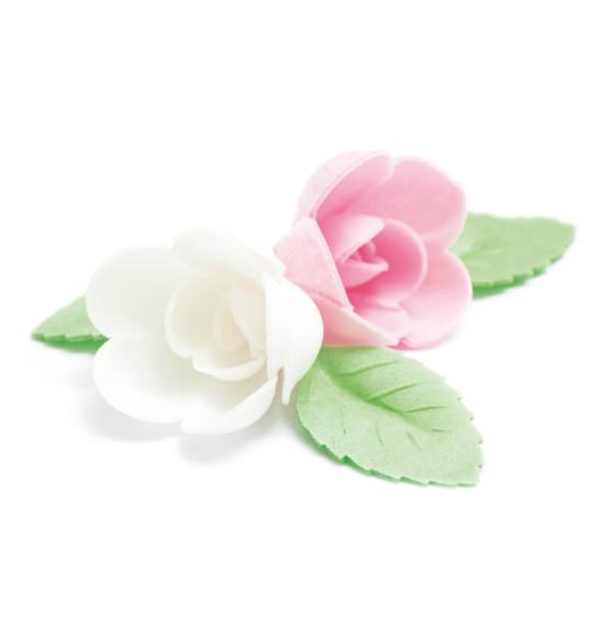 Décos azyme 4 roses assorties + 6 feuilles vertes