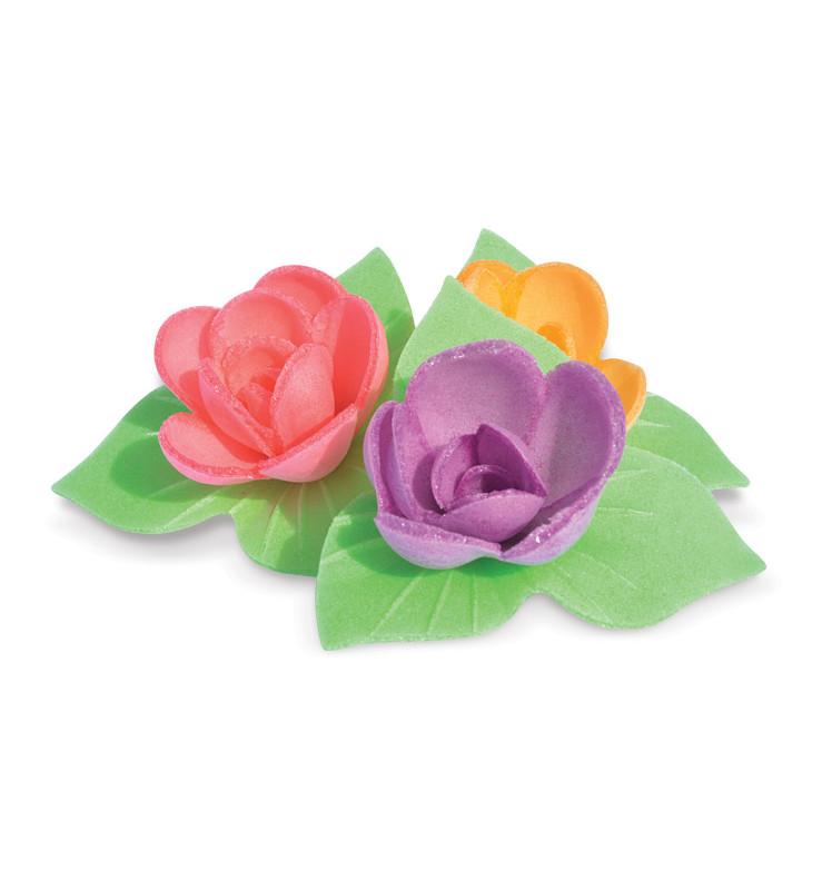 6 Mini rose corolla edible wafer decorations