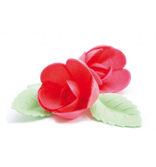 Edible wafer decorations 4 red roses + 6 green leaves