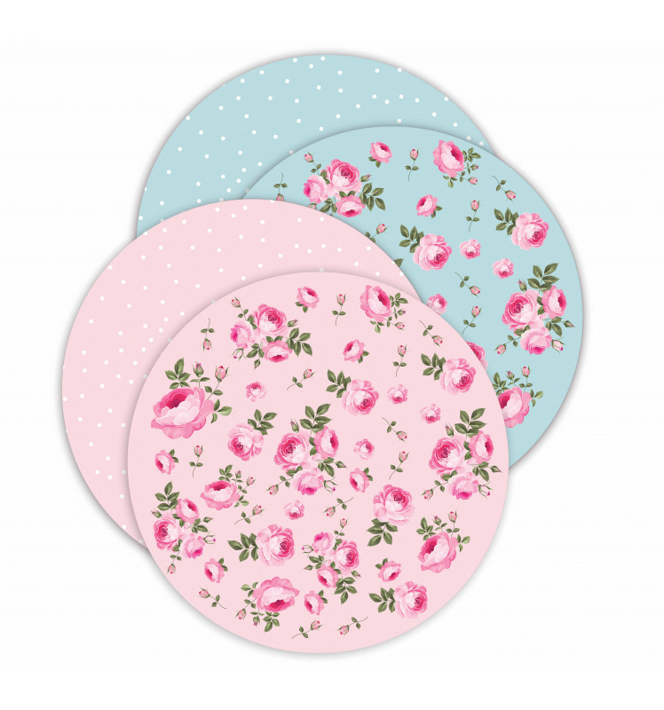 4 Supports gâteaux rond 28 cm - Flower