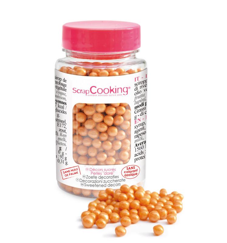 Pot de décors sucrés perles dorées
